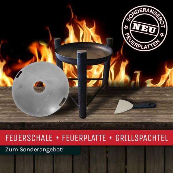 Feuerplatte mit Feuerschale + Spachtel + Buch SONDERANGEBOT