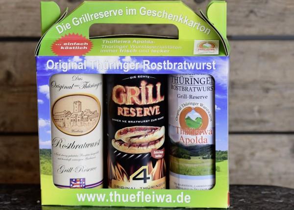 3 Dosen Original Thüringer Rostbratwurst in Geschenkpackung